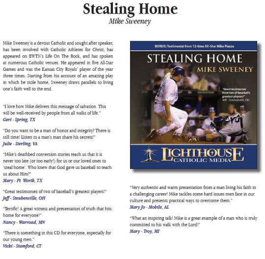 Stealing Home by Mike Sweeney Catholic CD or MP3